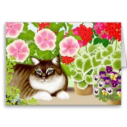Tiger Cat in Garden Jungle Cards from Zazzle.com   Artistic Greeting Cards   Scoop.it
