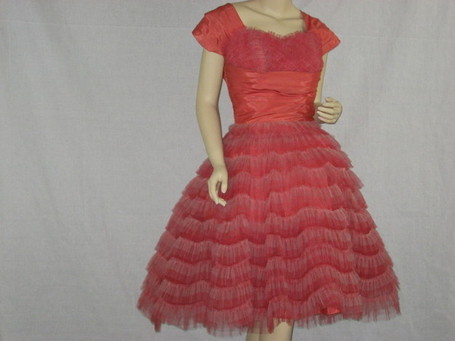 Vintage 1950's Prom/party dress undulating striped red and pink tulle - The Vintage Village | All About Vintage | Scoop.it