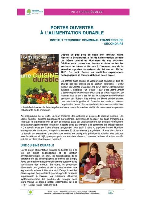 Portes ouvertes à l'alimentation durable - Institut Technique communal Frans Fischer.pdf | ALIMENTATION21 - Réalisations & publications | Scoop.it