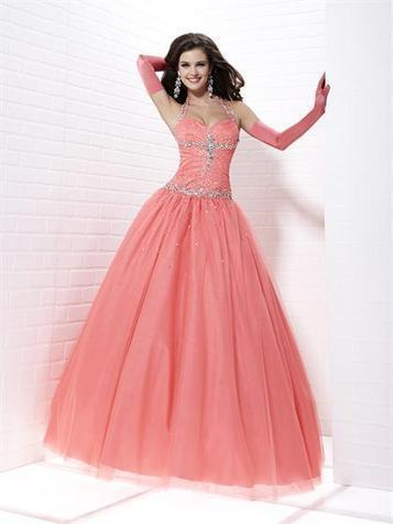 Ball Gown Halter Tulle Floor-length Sleeveless Crystal Detailing Quinceanera Dresses at pickedlooks.com | Quinceanera Dresses 2014 | Scoop.it