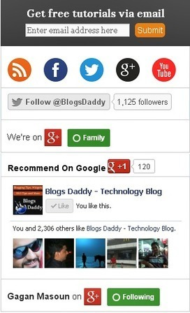 Bitty Social Media Subscription Widget For Blogger - Blogs Daddy | Blogger Tricks, Blog Templates, Widgets | Scoop.it