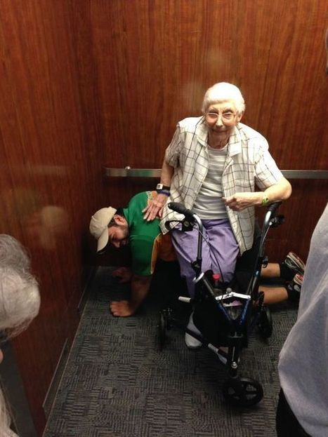Man Lets Elderly Woman Trapped in Elevator Sit on Him | The Remember Web | Scoop.it