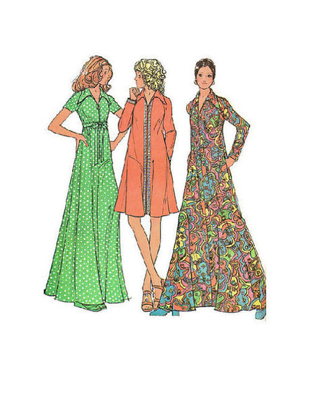 McCall's Retro Boho Hippie Sewing Pattern 1970s Fashion Maxi Dress Gown Caftan Robe Housedress Size Medium Bust 34 | Vintage Sewing Patterns | Scoop.it