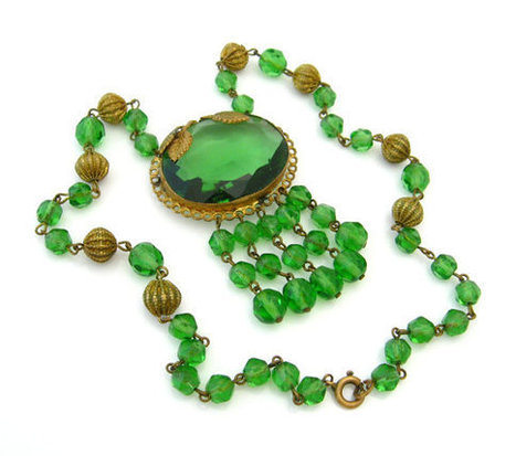 CZECHOSLOVAKIA Necklace Green Glass / Art Deco Signed Czech Bead Dangle Choker / Vintage 1920s Jewelry | Antiques & Vintage Collectibles | Scoop.it