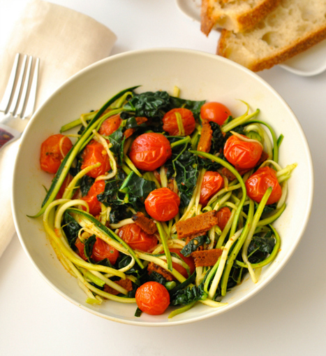 Zoodles with Vegan Bacon, Cherry Tomatoes & Kale - Ordinary Vegan | Vegan Food | Scoop.it