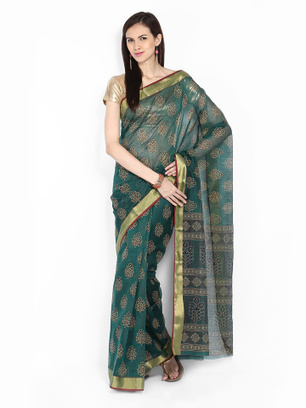 50% off on Anouk Green Printed Gadwal Cotton Traditional Saree at Myntra | Online Shopping |  Best Deals | Coupons | Scoop.it