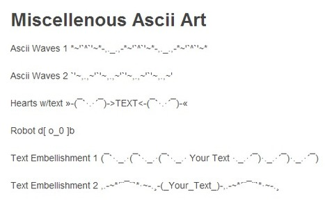 One Line Ascii Art for Twitter, IM, Text Messages, and Status Updates | ASCII Art | Scoop.it