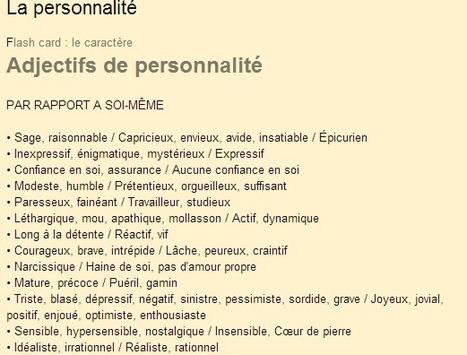Le blog de la classe de Françoise: La personnalité | FLE en ligne | Scoop.it