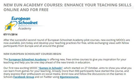 NEW EUN ACADEMY COURSES: ENHANCE YOUR TEACHING SKILLS ONLINE AND FOR FREE | INTELIGENCIA GLOBAL | Scoop.it