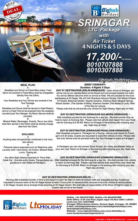 LTC Package | LTC package Srinagar | Srinagar LTC Package With Air Ticket | Holiday Packages | Scoop.it