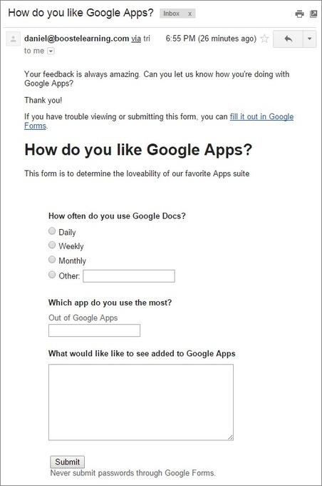 Use Gmail to gather intelligence with Google Forms | Using Google Drive in the classroom | Scoop.it