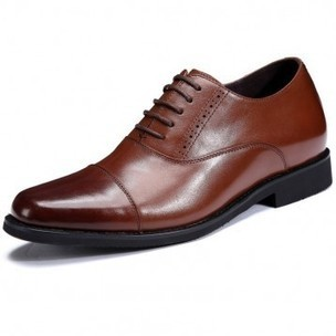 Premium tuxedo taller shoes 7cm / 2.75inch brown cap toe heighten wedding shoes on sale at topoutshoes.com | Elevator Casual shoes men height increasing Taller | Scoop.it