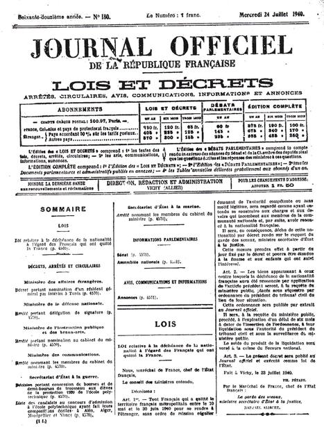 Ma famille a été déchue de sa nationalité par Pétain | egoblog.net | Ce que nous voulons éviter. La poursuite des politiques mortifères de la Troïka, des ultra-libéraux et sociaux-libéraux en Europe. | Scoop.it