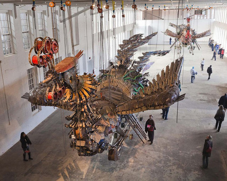 Xu Bing Arrives at Mass MoCA With His 12-Ton Birds Made of Construction Equipment | Culture and Fun - Art | Scoop.it
