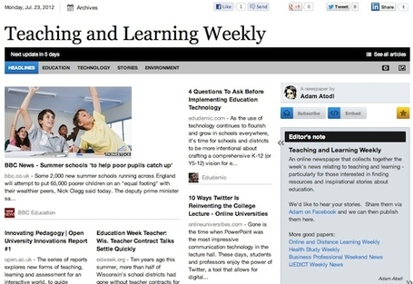 July 23 - Teaching and Learning Weekly | Teacher Learning Networks | Scoop.it