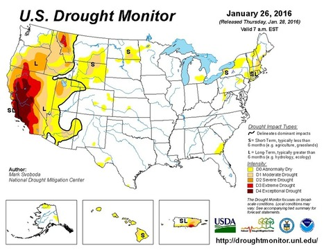 United States Drought Monitor January 26, 2016 | Grain du Coteau : News ( corn maize ethanol DDG soybean soymeal wheat livestock beef pigs canadian dollar) | Scoop.it