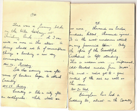 London War Diary: November 14th and 15th 1940.The bombing of Coventry   London War Diary. Original written pages. 1940   Scoop.it