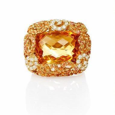 Diamond, Yellow Sapphire and Citrine 18k Yellow Gold Ring | Riveting Rings | Scoop.it