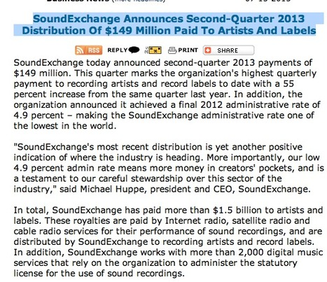SoundExchange Announces Second-Quarter 2013 Distribution Of $149 Million Paid To Artists And Labels | INDUSTRY NEWS | Scoop.it