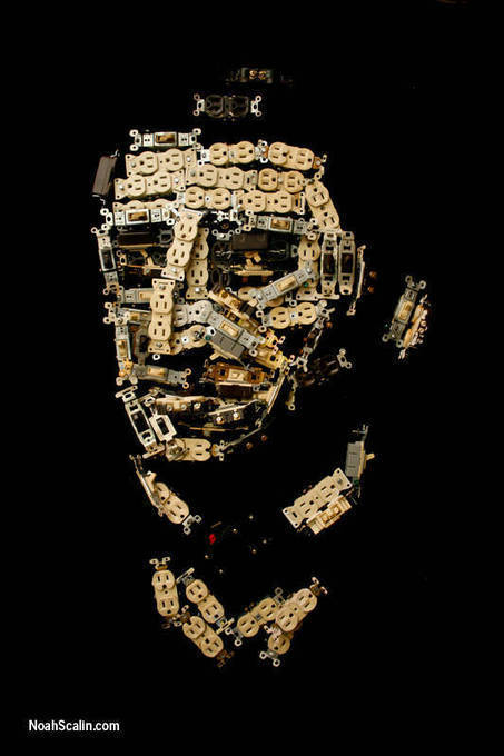 Ralph Waldo Emerson's head made out of electrical outlets and switches | OK, that's just weird! | Scoop.it