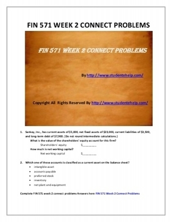FIN 571 Week 2 Connect Problems - Assignment   UOP Complete Course Tutorial   Scoop.it