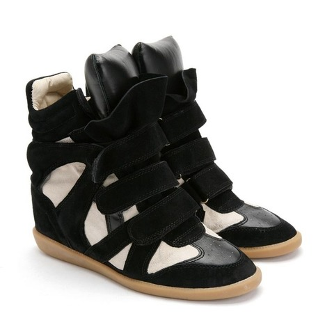 Upere Wedge Sneakers Suede Black Beige - $169.78 | UPERE Wedge Sneakers Show | Scoop.it