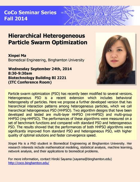 "Next CoCo seminar by Xinpei Ma on Wed Sep 24th: ""Hierarchical Heterogeneous Particle Swarm Optimization"" 