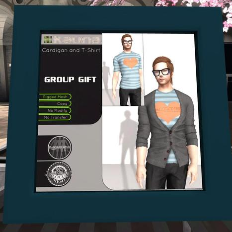 Male Cardigan and T-Shirt FaMESHed Group Gift by kauna | Teleport Hub - Second Life Freebies | Second Life Male Freebies | Scoop.it