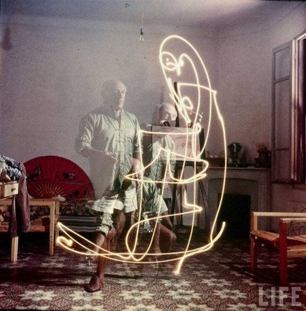 Colour photographs of Picasso painting in light, 1949 | Share Some Love Today | Scoop.it