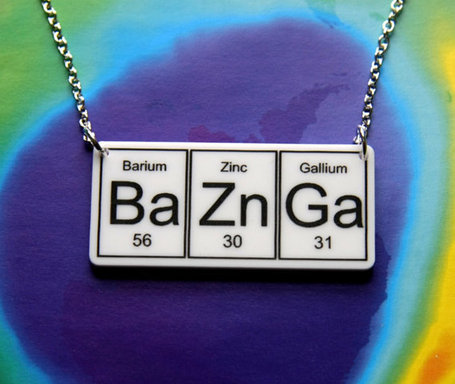 BAZINGA  BaZnGa   Necklace  periodic table by WendyJNZ | All Geeks | Scoop.it