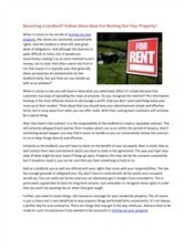 Becoming a Landlord Follow these Ideas For Renting Out Your Property.pdf | Landlord Choice | Scoop.it