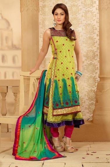 Lime Yellow Churidar Kameez Set [Man15190] - Rs.3232 : Salwar Kameez,Designer Salwar Kameez, Designer Sarees, Designer Sarees, Wedding Lehengas, Indian Sarees Online store   Salwar Kameez   Scoop.it
