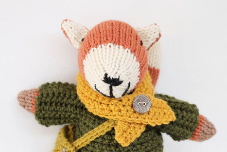 Oswald - A handmade knitted fox soft children's toy wearing crochet clothes. Birthday or Christmas Gift   Fiber Arts   Scoop.it
