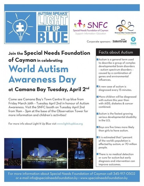 Cayman goes blue for World Autism Awareness Day | ieyenews | (Autism, Special Needs, Epilepsy & More) Awareness in Action | Scoop.it
