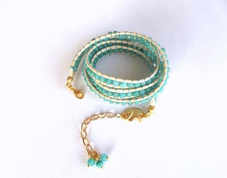 Beaded BraWrap Leather Bracelet , Jewelry, Mint Green, Elephant Jewelry, Bracelet, Handmade Glass celet, Gift,  Boho, Wrap Bracelet | My Jewelrys | Scoop.it