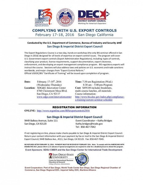 Complying with U.S. Export Controls Seminar | International Trade | Scoop.it