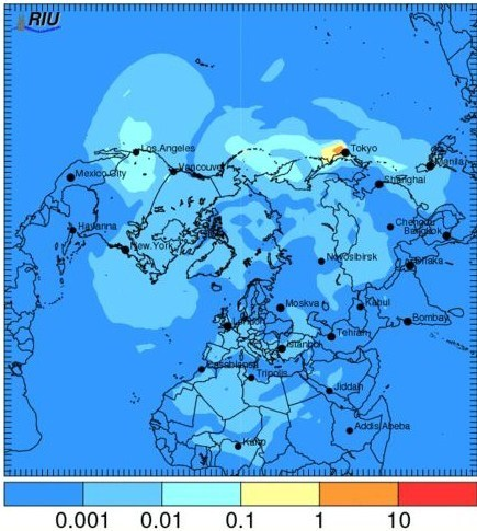 (Eng trad) Potentiel de dispersion du nuage radioactif dans l'hémisphère Nord | surface de rayonnement | FUKUSHIMA INFORMATIONS | Scoop.it