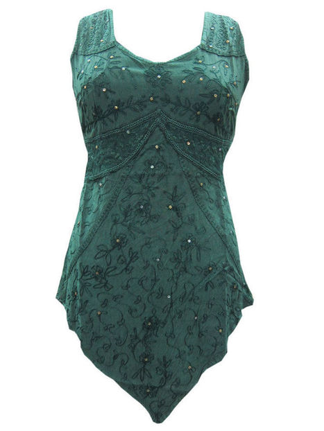 Sea Green Boho Blouse Shirt Embroidered Sleeveless Top Small | Bohemian Fashion | Scoop.it