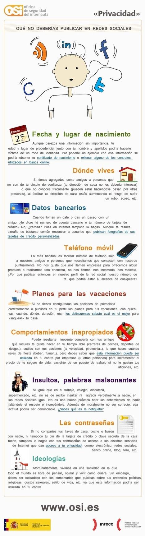 Lo que NO deberías publicar en #RedesSociales. #infografia #socialmedia | Educacion Tecnologia | Scoop.it