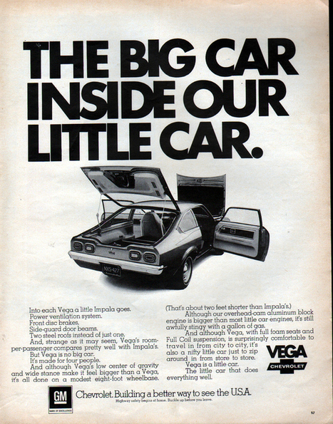 """""""Mad Men's"""" Chevy Vega Pitches Vs. What Actually Ran   Advertising, I say   Scoop.it"""