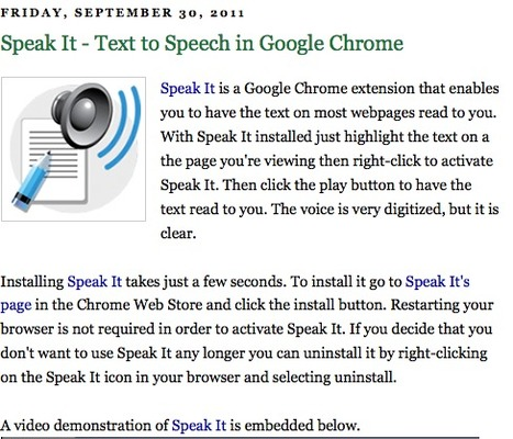 Speak It - Text to Speech in Google Chrome | LCMCISD Google Resources | Scoop.it