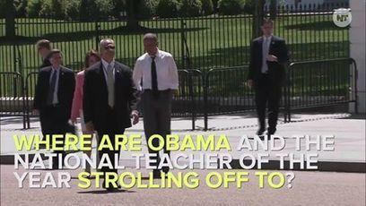 Pres. Obama and the National Teacher of the year enjoy a stroll to get some afternoon tea. | LibertyE Global Renaissance | Scoop.it