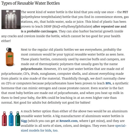 How To Choose A Safe Reusable Water Bottle. | Eco Action Heroes | Scoop.it