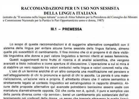 (IT) (PDF) RACCOMANDAZIONI PER UN USO NON SESSISTA DELLA LINGUA ITALIANA | Alma Sabatini | 1001 Glossaries, dictionaries, resources | Scoop.it