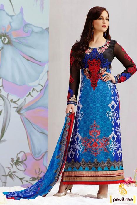 Blue Black Embroidery Salwar Suit   Pavitraa   Scoop.it
