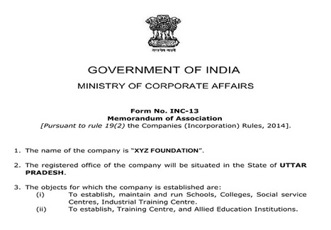 Format of MOA and AOA of Section 8 Company | Company Registration in Delhi | Scoop.it