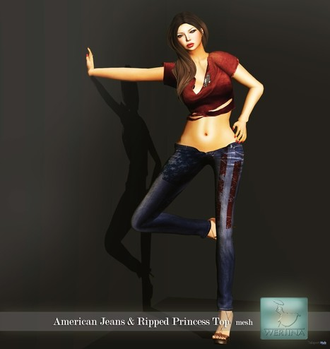American Jeans and Ripped Princess Top Color Me Project Group Gift by WERTINA | Teleport Hub - Second Life Freebies | Second Life Freebies | Scoop.it