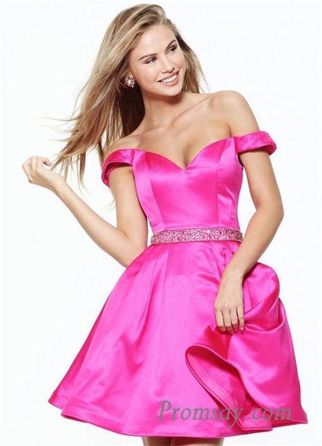 2017 Beaded Off the Shoulder Sherri Hill 50815 Short Prom Dresses | women fashion dresses | Scoop.it