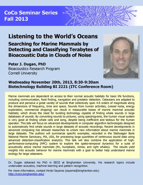 "Next CoCo Seminar by Peter J. Dugan: ""Listening to the World's Oceans"" 