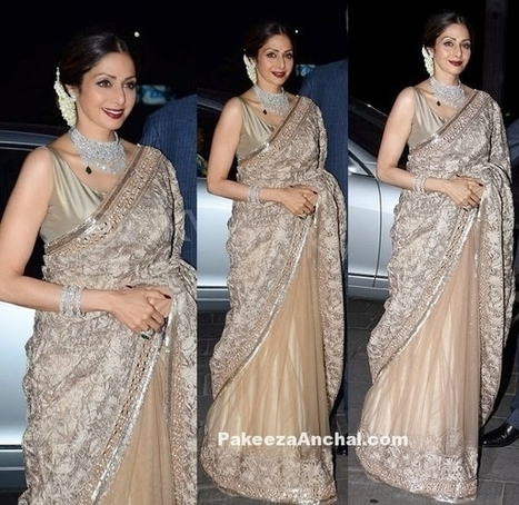 Sridevi Kapoor in a Sheer saree with Embroidered Pallu by Manish Malhotra | Indian Fashion Updates | Scoop.it